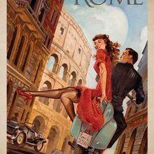Vintage Retro Roma, Italia foto de viaje de seda cartel para pared decorativa pintura 24x36inch
