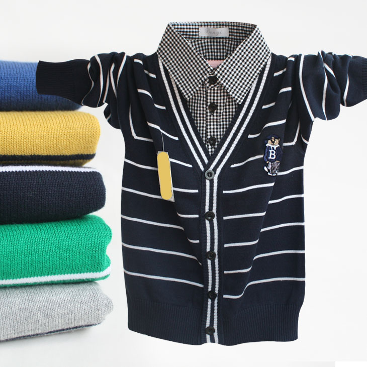 New Fashion Boys Clothes Spring Autumn Striped Pattern Lapel Long-sleeve Children Sweater Gift