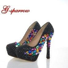 b0c6df740 Preto Strass Sapatos de Festa de Casamento Dedo Do Pé Redondo Stiletto  Calcanhar Cinderela Prom Cristal