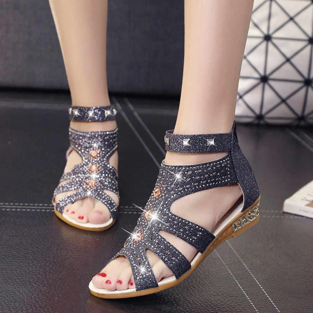 Jaycosin sandalias de señoras de boca de pescado de diamantes de imitación sandalias huecas Roma Zapatos elegantes zapatos de fiesta con cremallera sandalias de las señoras de lentejuelas