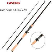 MX Ultra Light 3-Sezione Canna Da Pesca Turistica Asta di Richiamo Esca Spinning Al Casting Canna Da Pesca 1.8 m 2.1 m 2.4 m 2.7 m 5g-40g/M/ML/MH