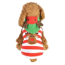 2019 Pet Dogs Warm Coat Christmas Cotton Costume for Puppy Red Stripes Elk Hoodie
