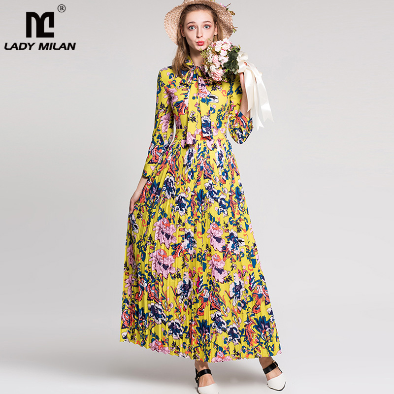 New Arrival 2018 Womens Sash Bow Collar Long Sleeves Floral Printed Pleated Fashion Elegant Designer Maxi Runway Dresses