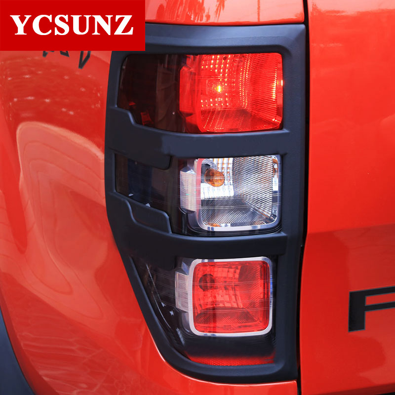For Ford Ranger T6 Accessories Abs Matte Black Tail Light Covers Trim For Ford Ranger 2012 2016 Car Styling Rear Lamp Cover In Body Kits From