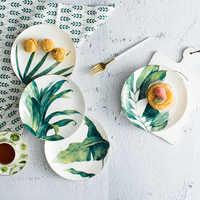Round Green Plants Porcelain Dinner Plate Set 8 inch Tableware Wholesale Ceramic Dessert Plate Dinnerware Cake Dishes Plates