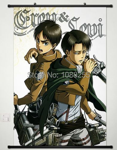 Home Decor Anime Attack on Titan Wall Scroll Poster Eren Jager & Levi
