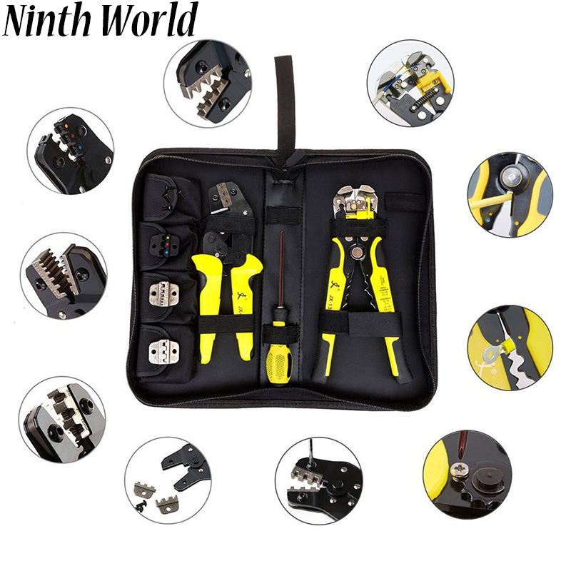 Ninth World 4 In 1 multitool Wire Crimpers Engineering Ratcheting Crimping Pliers Cord End Terminals + Wire Stripper hand tool wire world electra 7 power cord 1 0m