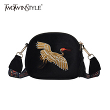 TWOTWINSTYLE Blet With Bag For Women Velvet Embroidery Tasse