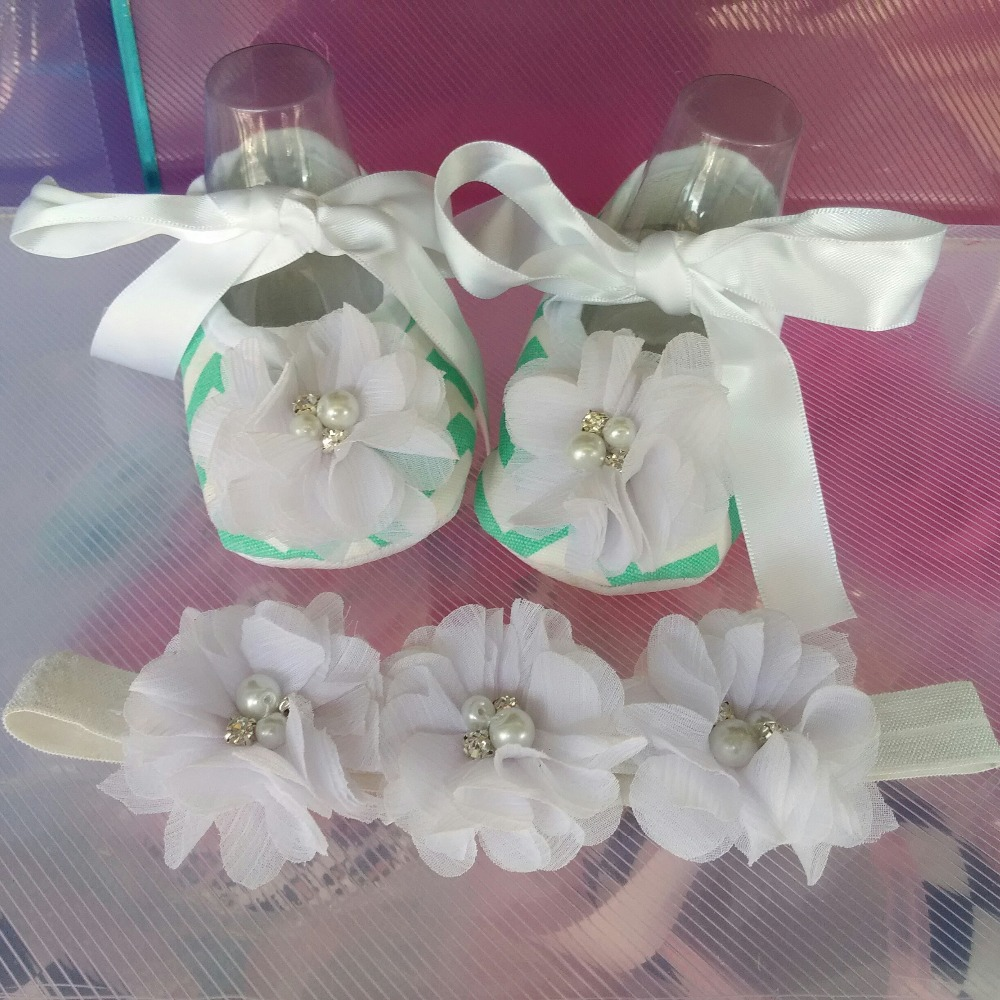 Rhinestone/pearl Crib baby Shoes Headband set,fashion shabby flowers sapato de bebe,pink shoes infant girls aby slippers