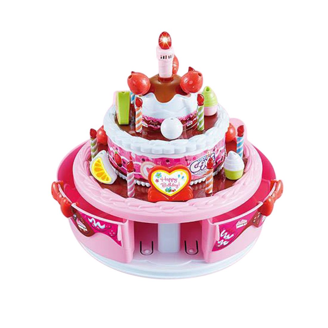 Pretend Play Record And Playback Toy Electric Musical Birthday Cake With Light Up Candle Song For Kids Gift