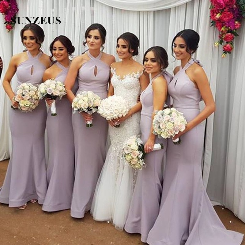 Halter Mermaid Wedding Party Dresses Keyhole Front Sexy Bridesmaid Dresses Long Satin Formal Dresses dama de honor SBD70