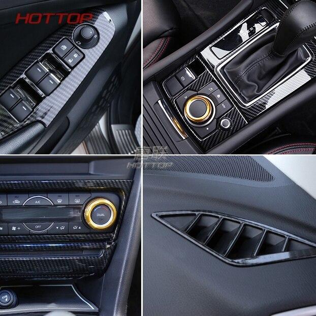 Carbon Fiber Console Gear Shift Panel Frame Cover For Mazda 3 Axela 2017-2018