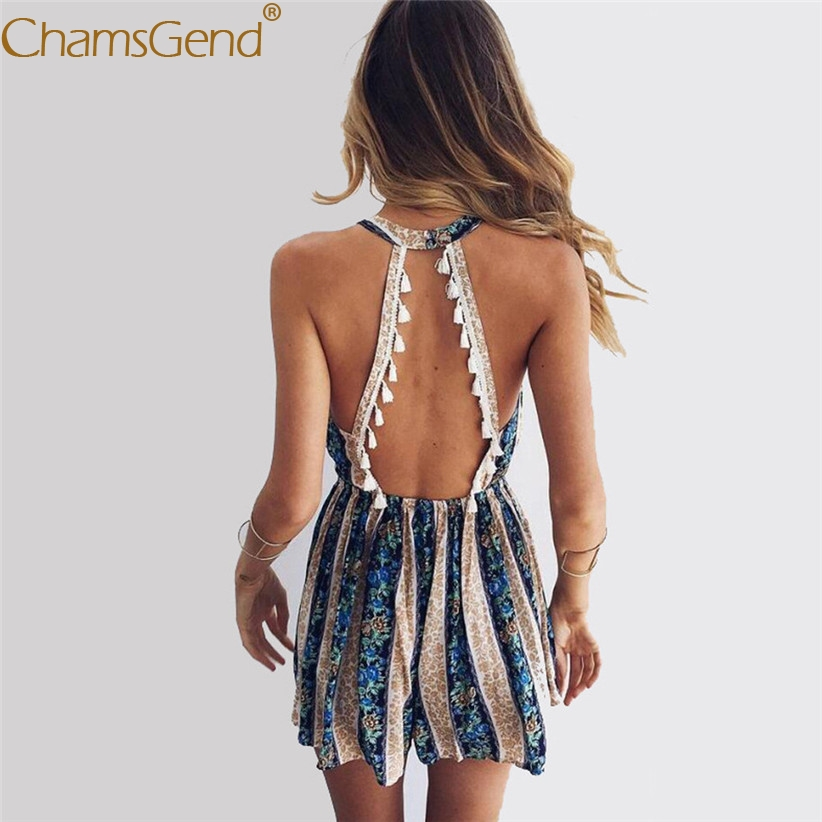 cf9fa64fa43 Free Shipping Women Sexy Boho Jumpsuit V Neck Sleeveless Backless Tassels Playsuit  Female Halter Rompers 80509