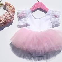 Кружевное платье с рукавами в цветочек, детские розовые комбинезоны для маленьких девочек, кружевное платье-пачка, комплекты одежды