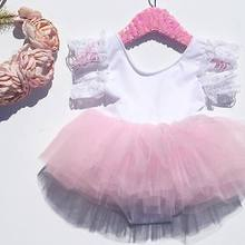 Lace Flower Sleeve Dress Kids Baby Girls Pink Rompers Lace T