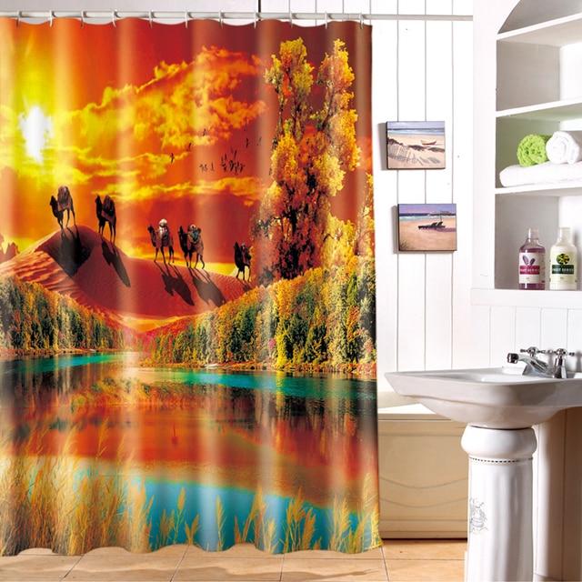 New 3D Shower Curtains Hooks Desert Camel Pattern Waterproof Fabric Bathroom  Curtains Washable Bath Curtain Bathroom