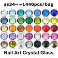 Wholesale 288pcs/lot, ss34 (7.0-7.3mm) Many Colors Flat Back Non Hotfix Rhinestones 3D Glitter Nail Jewelrys