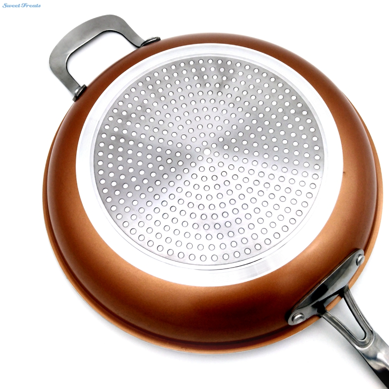sweettreats non stick copper frying pan with ceramic coating and induction cookingoven u0026 dishwasher safe 12 inchesin pans from home u0026 garden on