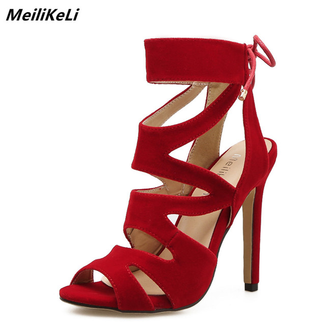aebb5618d8b7 MeiLinKeLin Sexy Gladiators Women Sandals High Heel Caged Lace-up High heels  roman women flock thin heel open toe party shoes