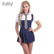 7e3041400d8 YiZYiF Sexy mujeres adultos colegiala estudiante Cosplay traje uniforme  vestido con corbata muñeca juego traje de la ropa interi.