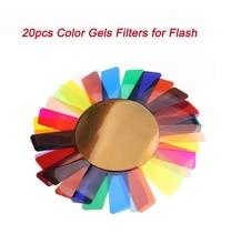 20pcs Color Gels Filters for Godox V1 Canon Camera Photographic Gels Flash Speedlite Filter Set