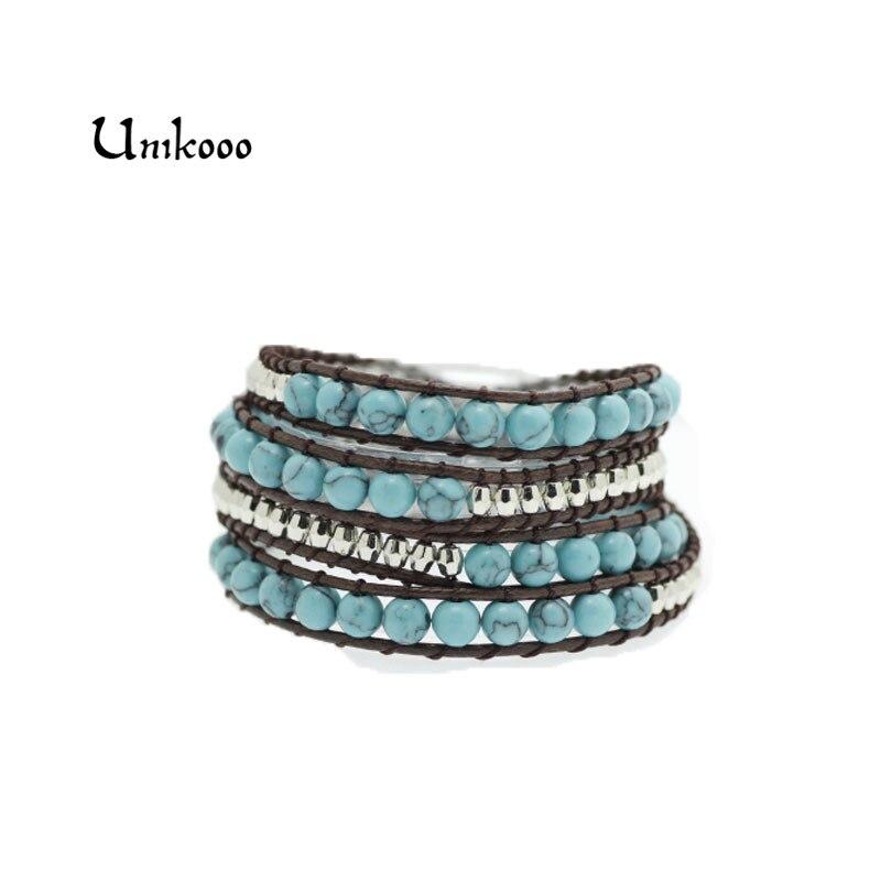 Blue 4 Wrap Wax Cord Wrap Bracelets Boho Beads Bracelet Handmade Strand Bracelet Wholesale Sale Dropshiping