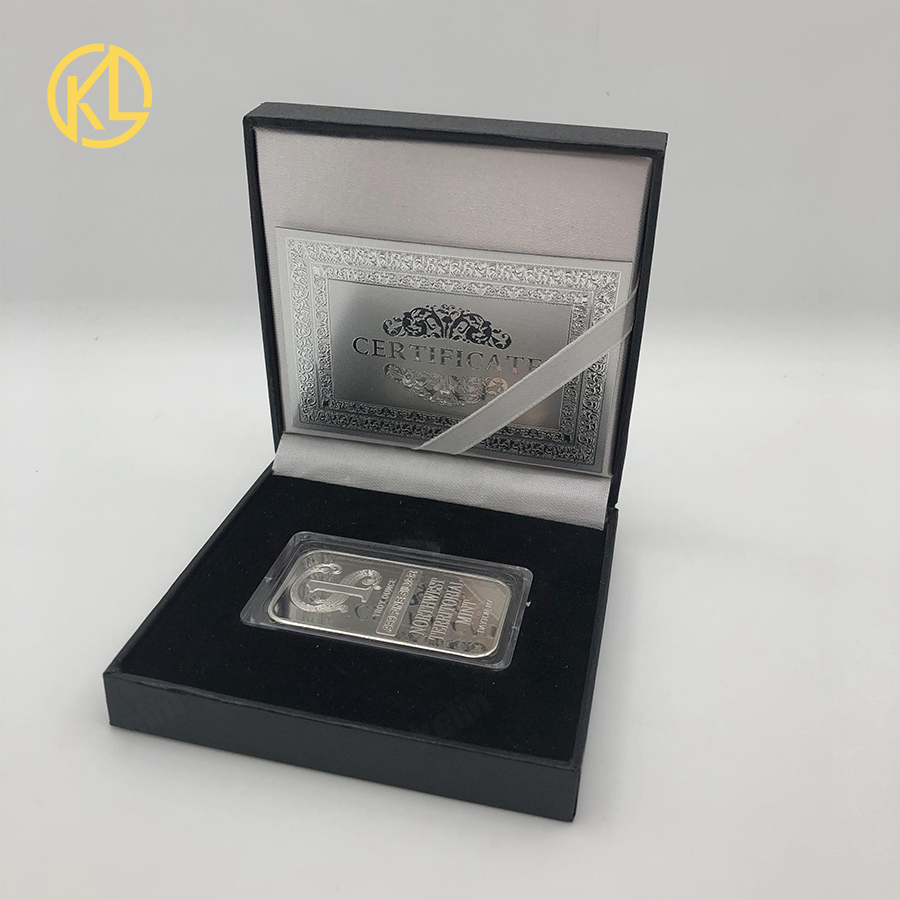 High Quality Troy Ounce .999 Fine Sliver Plated Northwest Territorial Mint Replica Bar Silver Commemorative Coin With gift box