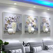 лучшая цена Sofa background wall decoration painting living room triptych frameless painting room decoration mural 3D relief painting