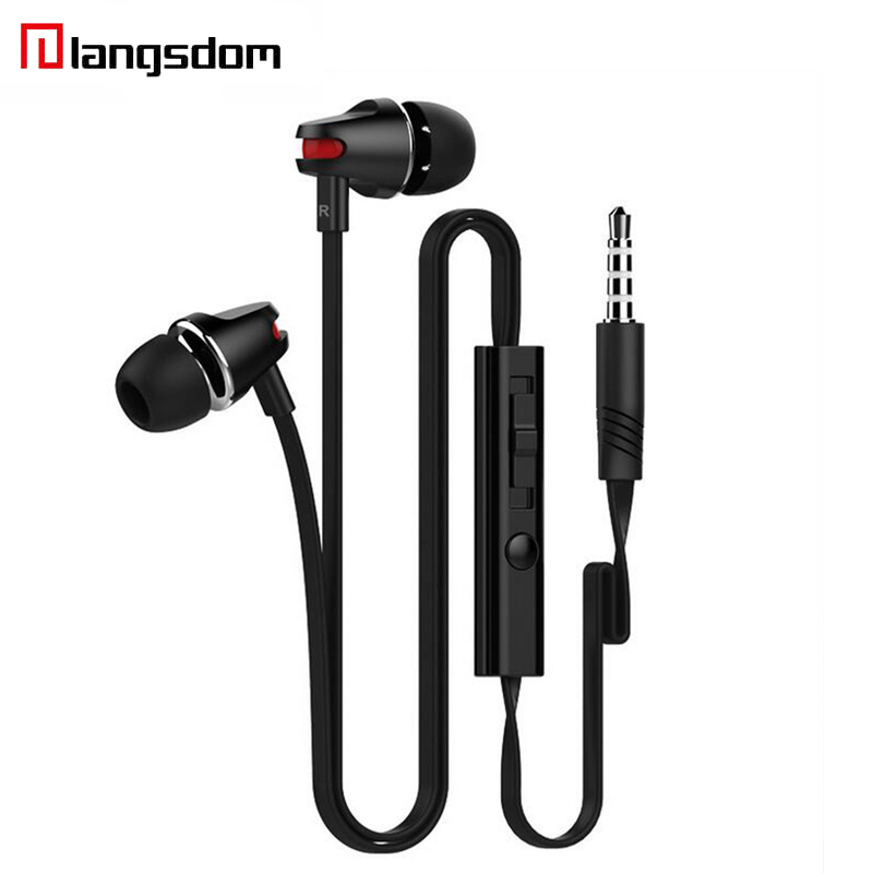 Langsdom JV23 Earphone Wired In-ear Earphone For Phone jv23 Stereo Super Bass Earbuds Wire Control Earphone With Mic For Samsung цена и фото