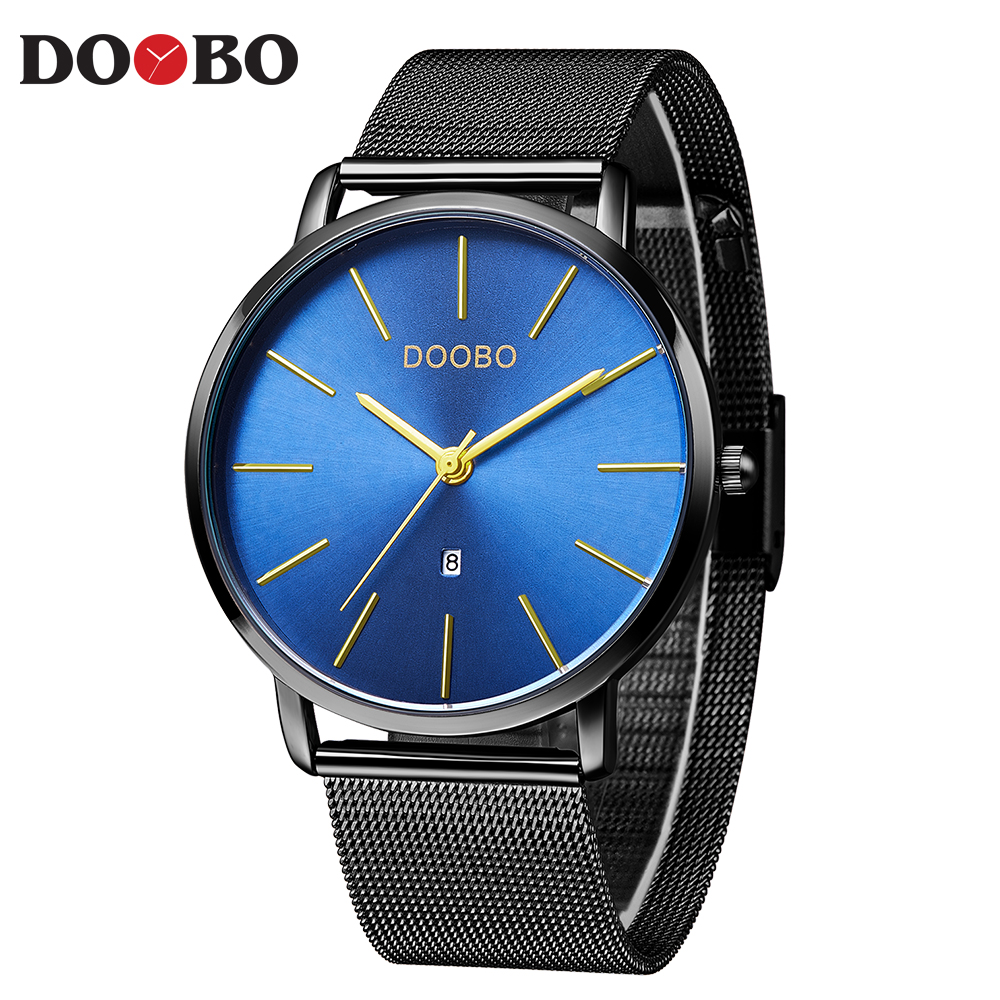 DOOBO Slim Men Quartz Watch Mens Watches Top Brand Luxury Black Blue Stainless Steel Mesh Sport Wrist Watch Male Thin Clock D037