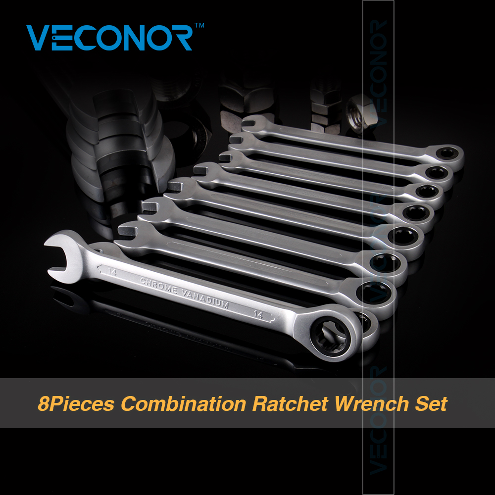 Veconor 8 pcs/ensemble Clé À Cliquet Combinaison Clé Set Ratchet Poignée Clé Chrome Vanadium 8,10, 12,13, 14,15, 17,19mm