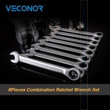 Veconor 8 sztuk/zestaw Grzechotką Klucz Uchwyt Klucz Chrome Vanadium Zestaw Kluczy Z Grzechotką 8,10, 12,13, 14,15, 17,19mm