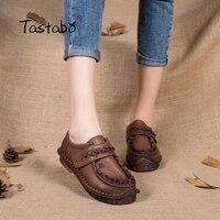 Spring Autumn Ethnic Vintage Shoe Genuine Leather Ladies Moccasin Flat Shoe Manual Bowtie Round Toe Solid