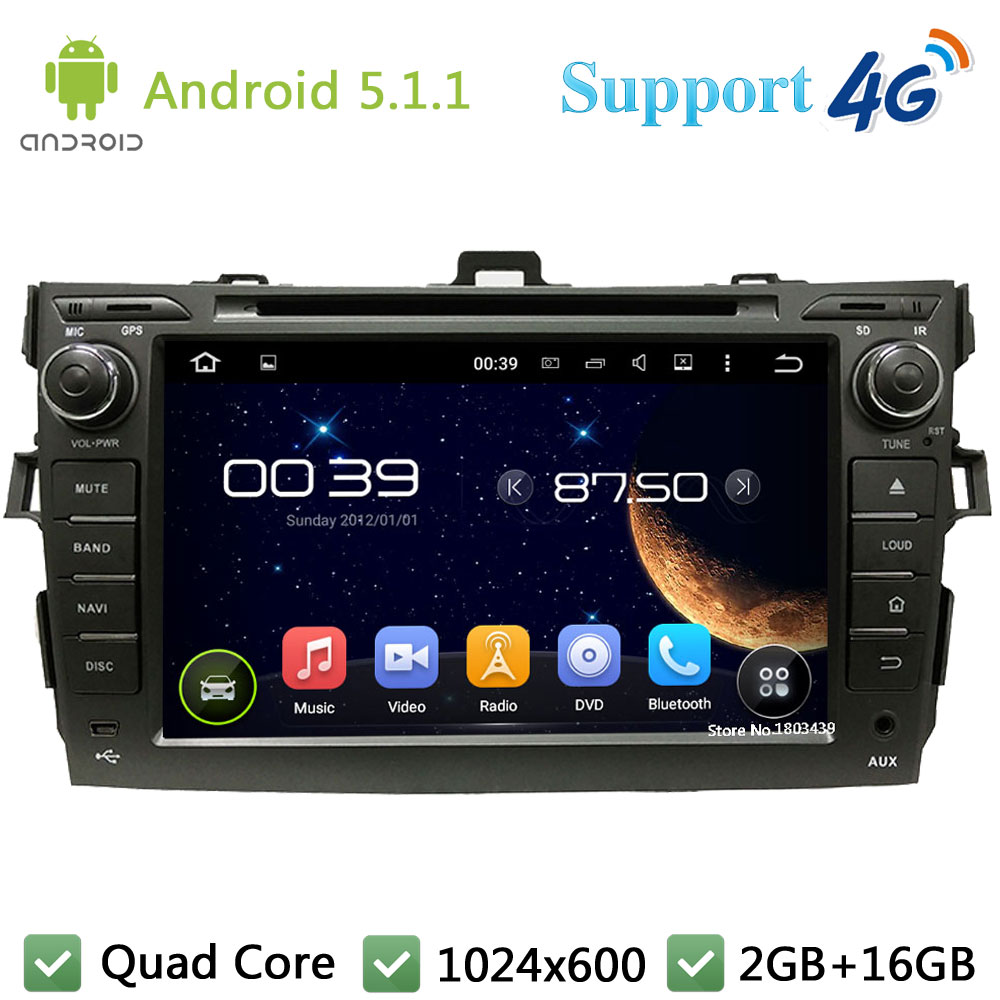 Quad Core 1024*600 8″ Android 5.1.1 Car DVD Player Radio Screen Stereo PC FM DAB 3G/4G WIFI GPS Map For TOYOTA Corolla 2006-2012