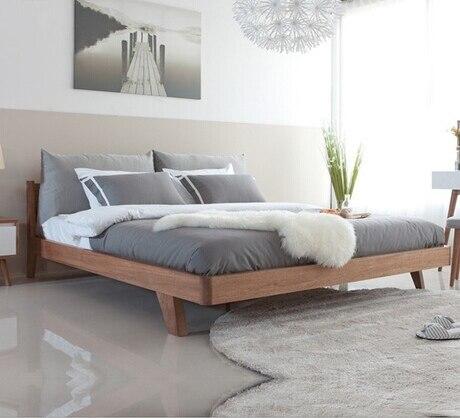 Maison Lit Chambre Meubles Meubles De Maison Nordique Simple Moderne En Bois  Massif Lit 1.5 M