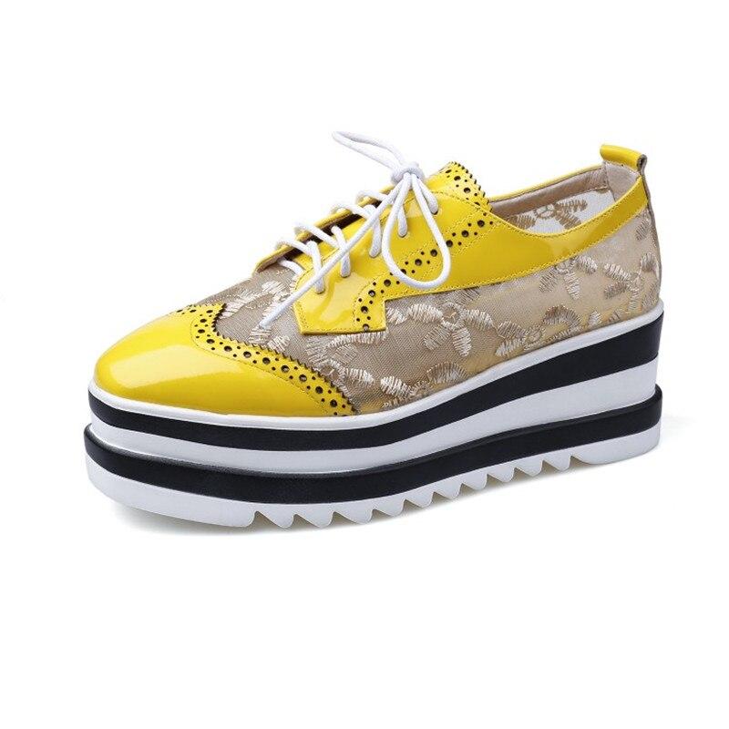 Black Vente Stylesowner Rond forme Plate En Verni Qualité Chaussures Bout yellow Printemps Cuir Top À Plat allumette Lacets Haute Bonne Femme Tout 5pqRpr
