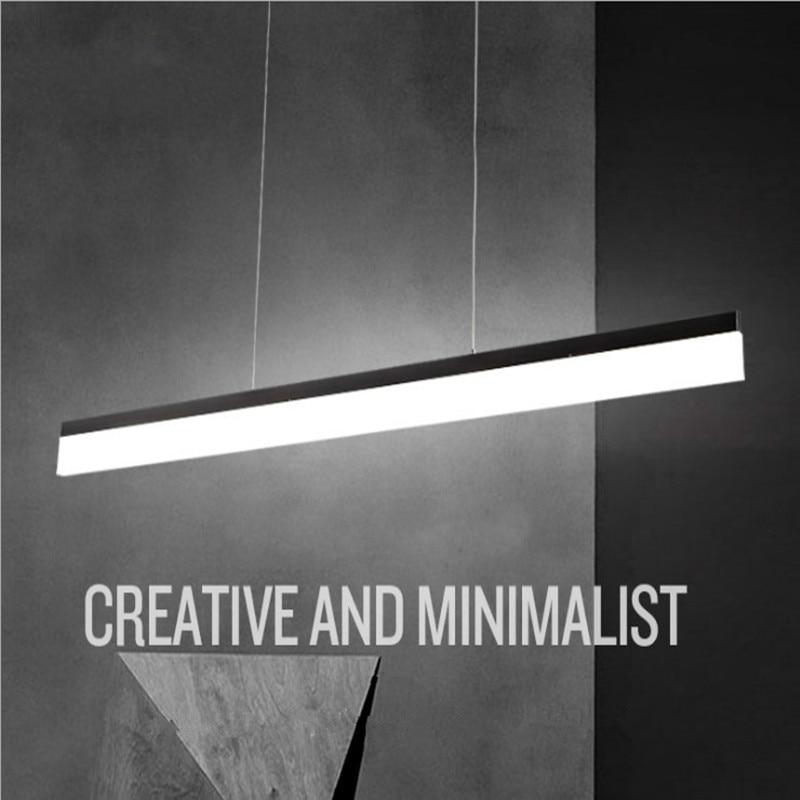 Modern Minimalist LED Pendant Lights Bar for kitchen Dinning Table Hanging Lamp Light LED Bulb Fixture Black Office Light Bar 1M