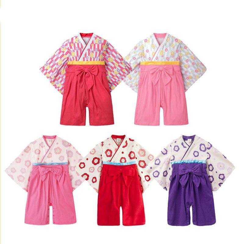 New Born Babys bebes girls kids Bamboo cotton Japanese kimono clothes dress rompers bathrobe Roupas de bebe