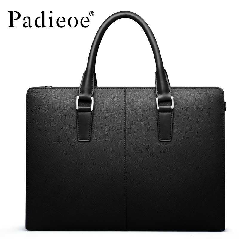 Padieoe Famous Brand Handbag Men Shoulder Bags Leather Messenger Bag Business Briefcase Laptop Bag Men's Tote Bag Free Shipping padieoe men s genuine leather briefcase famous brand business cowhide leather men messenger bag casual handbags shoulder bags