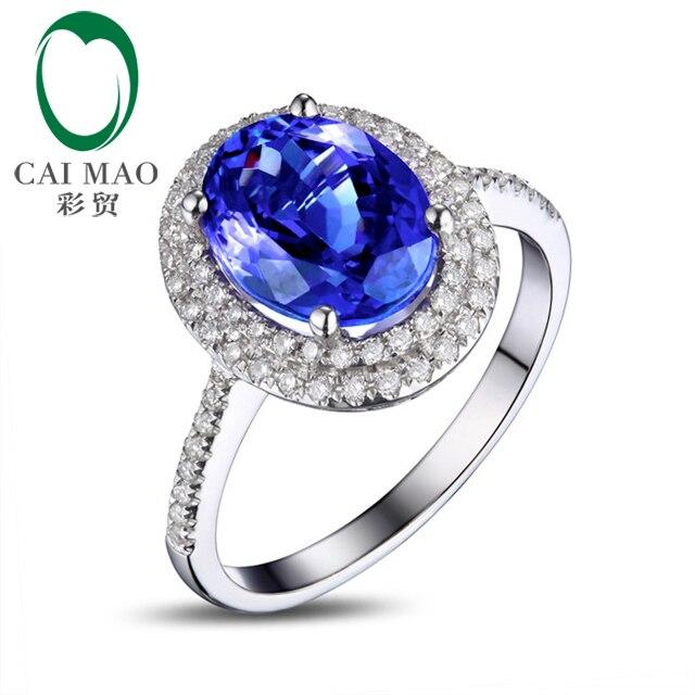 CAIMAO Krásný 1,89ct Tanzanite oválný zásnubní zásnubní sada diamantový prsten