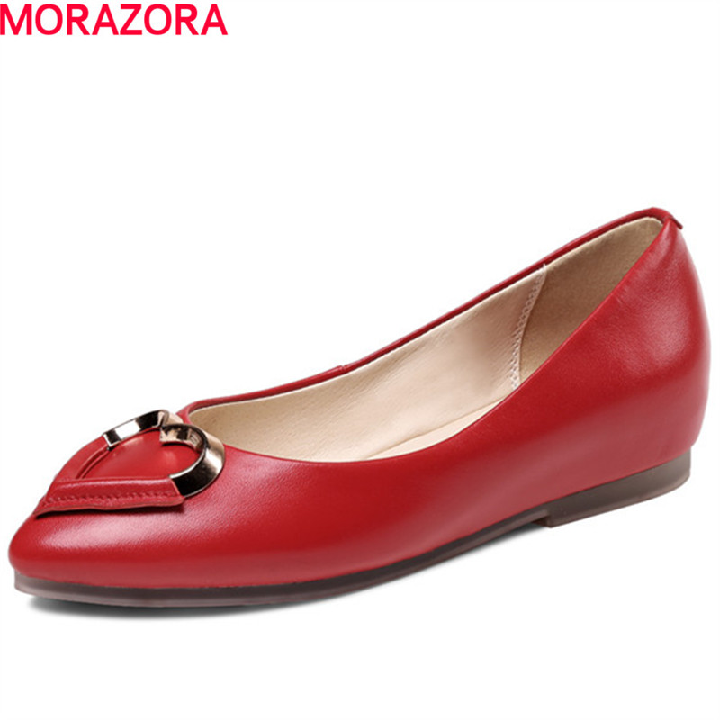 MORAZORA new sweet woman flat shoes women genuine leather pointed toe fashion big size 34-43 spring women red shoes flat pointed toe genuine leather high 2017 new woman shoes high quality casual flats big size 41 42 43