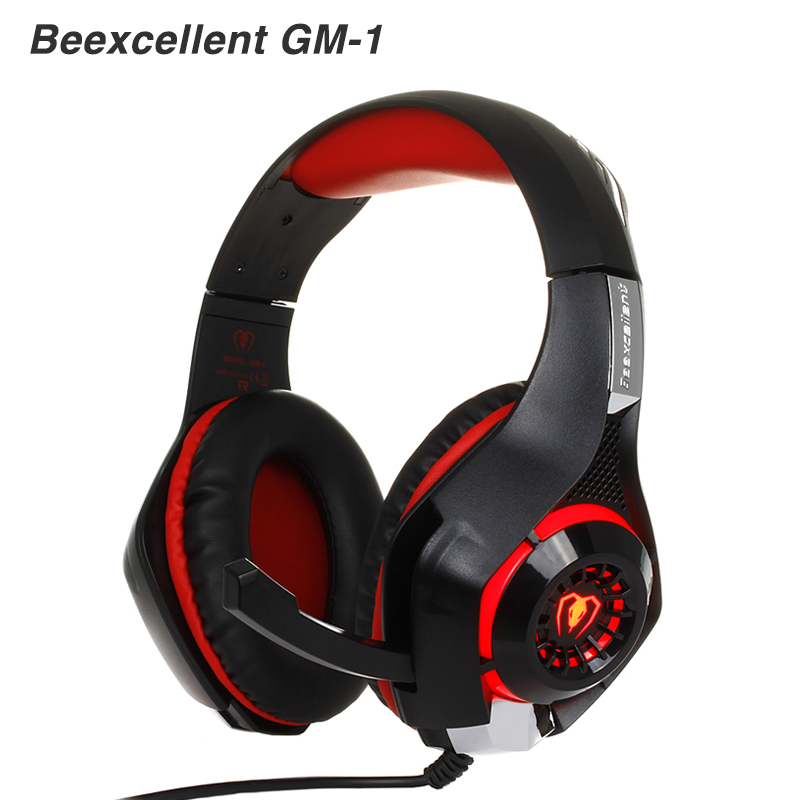 Beexcellent GM-1 Gaming gamer headset Headphones Headphone Wired stereo Bass with microphone LED for PC gamer pk xiaomi high quality gaming headset with microphone stereo super bass headphones for gamer pc computer over head cool wire headphone