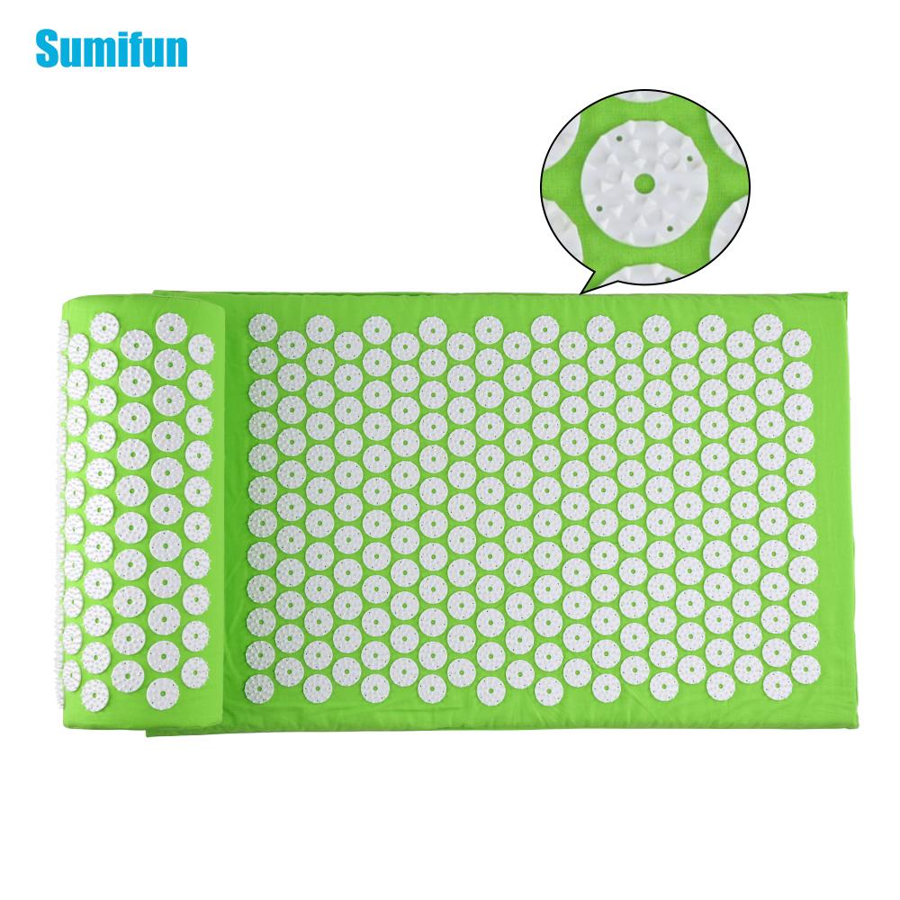 Sumifun Massage Cushion Set Acupressure Therapy Mat Relieve Stress Pain Acupuncture Spike Yoga Mat with Pillow Green D06897 povihome 1set massage cushion acupressure therapy mat relieve stress pain relief acupuncture spike yoga mat with pillow d06874