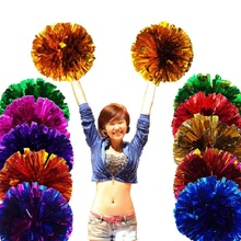 Game Cheerleader Cheerleading pom poms Cheerleading pompoms  cheer pom majorettes hand flower aerobics balls school sports items metallic color cheerleader pom poms w plastic handle deep pink