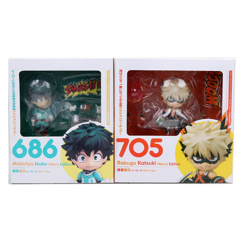 2pcs/set Anime My Hero Academia Nendoroid 705 bakugou katsuki & 686 MIDORIYA IZUKU PVC action fiugre collection model toys2pcs/set Anime My Hero Academia Nendoroid 705 bakugou katsuki & 686 MIDORIYA IZUKU PVC action fiugre collection model toys