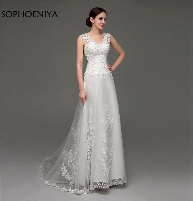 US $105.79 29% OFF|New Arrival V Neck Ivory Wedding dresses 2019 Illusion  Back Bridal dress Plus size robe de mariee Wedding gown vestidos de  novia-in ...