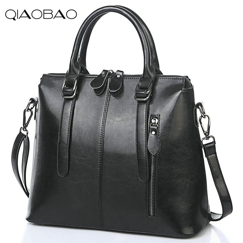 QIAOBAO New Famous Brand Bag 100% Genuine Leather Bags For Women Handbag, Fashion Ladies Shoulder Messenger Bags Cowhide Totes