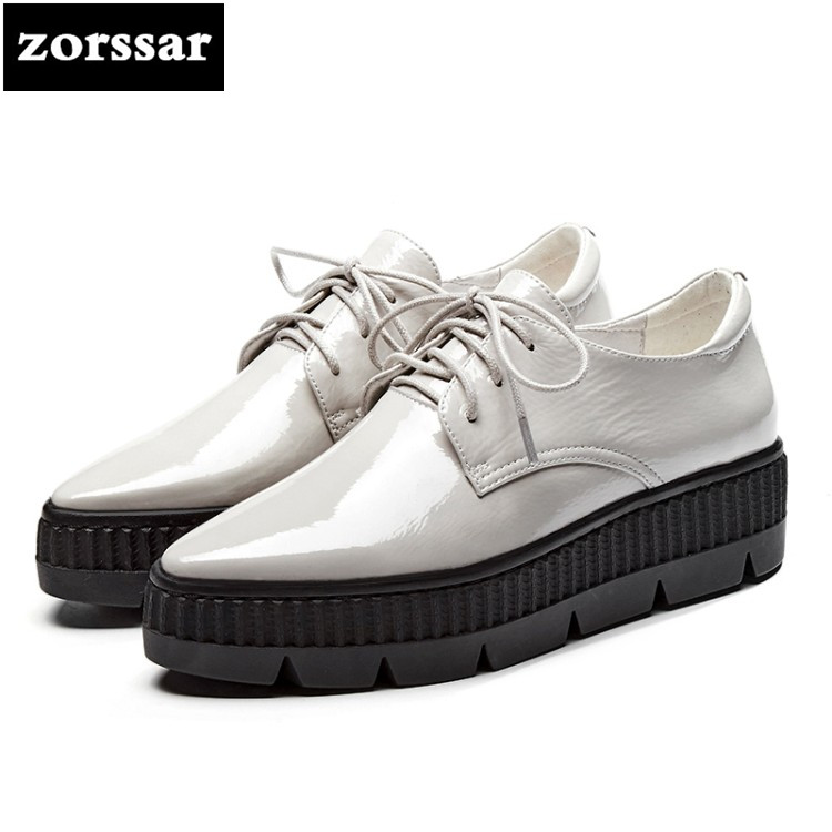 {Zorssar} 2018 New Patent leather Flats platform Women shoes Casual flat Pointed toe shoes Female sneakers shoes Student Shoes zorssar brand 2018 new genuine cow leather women sneakers shoes casual flats shoes female platform shoes outdoor walking shoes