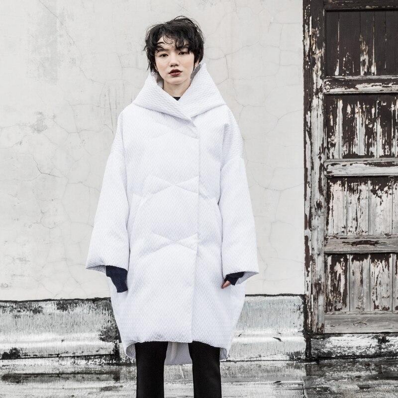 Femmes Surdimensionné Dobby De Duvet Hiver 2018 Collection Veste Manteau Capuchon Canard white Blanc À Black Longue Nouvelle 4qOwWqTU