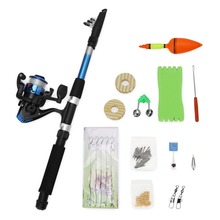 Portable Fishing Rod Set Spinning Fishing Reel Combos Full Kit 1.8M Fishing Rod Pole Reel Line Lures Hooks Swivel Alarm